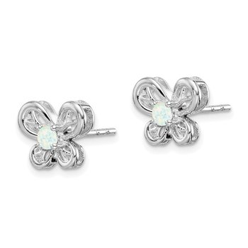 Sterling Silver Rhodium-plated Created Opal Earrings
