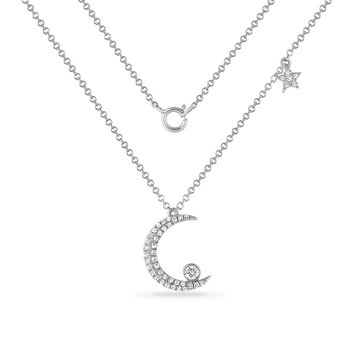 14K crescent moon necklace with 43 diamonds 0.18ct 18mm long