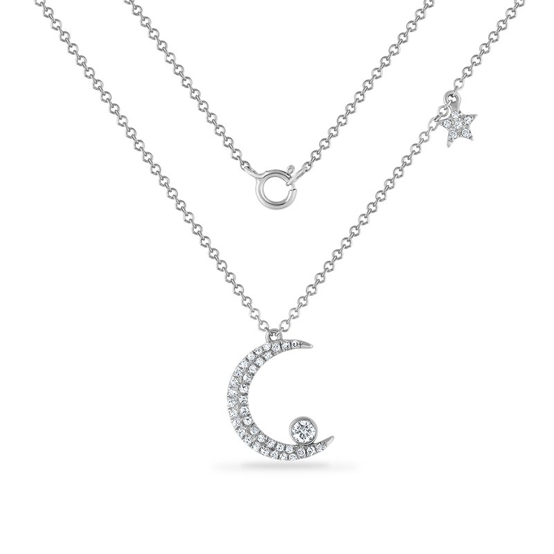 Shula NY 14K crescent moon necklace with 43 diamonds 0.18ct 18mm long