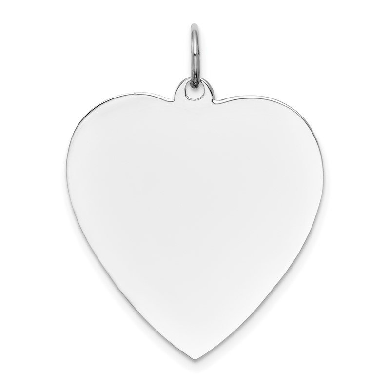 14k White Gold Plain .018 Gauge Engravable Heart Charm