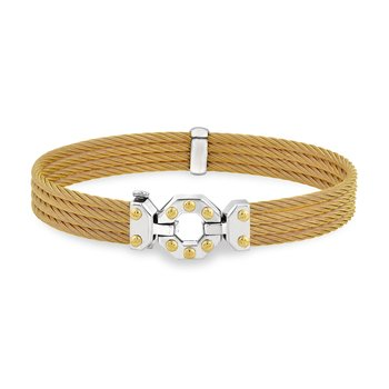 Men's Yellow Cable Multi-Strand Bracelet with Gold and Stainless Steel Octogen Station