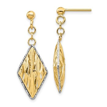 14K & White Rhodium Polished & D/C Dangle Post Earrings