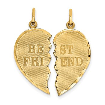 14k BEST FRIEND Diamond-cut 2-piece Charm