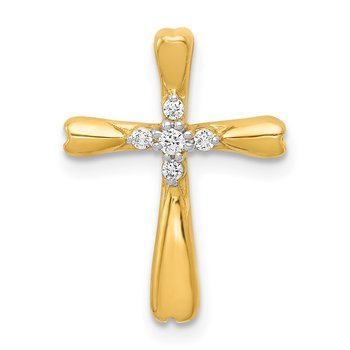 14k White Gold 1/20ct. 5-Stone Diamond Cross Chain Slide
