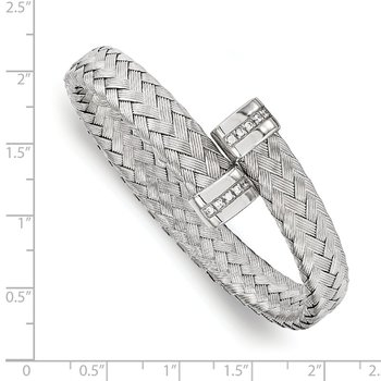 Leslie's Sterling Silver CZ Braided Flexible Bangle