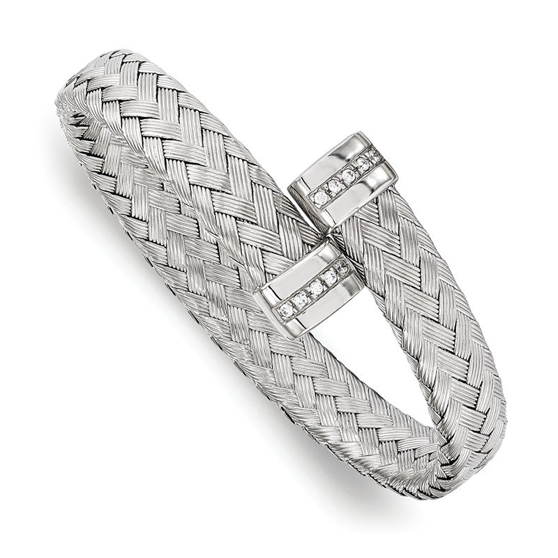 Leslie's Leslie's Sterling Silver CZ Braided Flexible Bangle