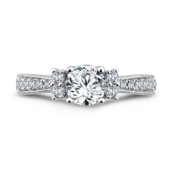 Inspired Vintage Collection Engagement Ring With Side Stones in 14K White Gold with Platinum Head (3/4ct. tw.)