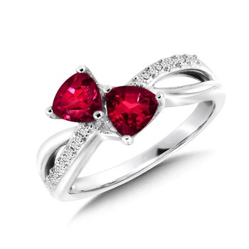 Trillion-Cut  Created Ruby and Diamond Criss-Cross Ring