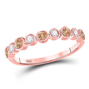 10kt Rose Gold Womens Round Brown Color Enhanced Diamond Band Ring 1/3 Cttw