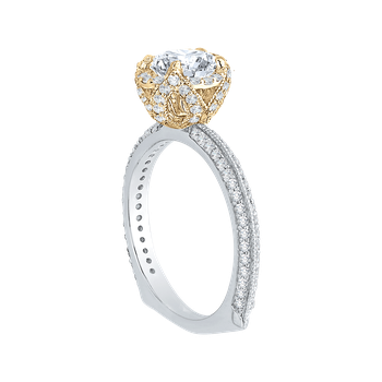 18K Two-Tone Gold Euro Shank Round Diamond Engagement Ring (Semi-Mount)