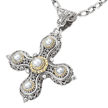 18K/SILVER WITH WHITE MABE    PEARL CROSS ENHANCER