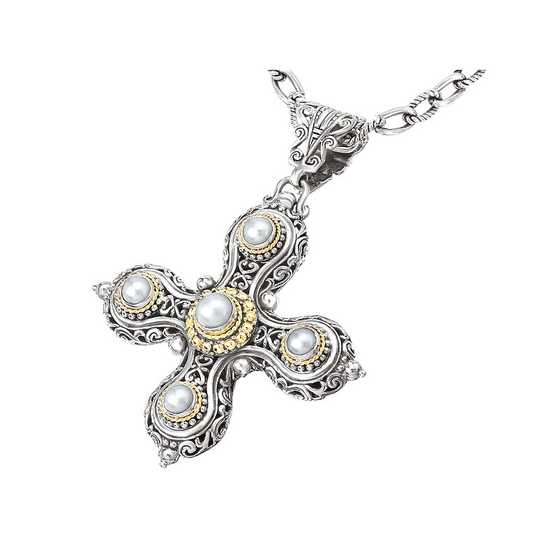 Eleganza 18K/SILVER WITH WHITE MABE    PEARL CROSS ENHANCER