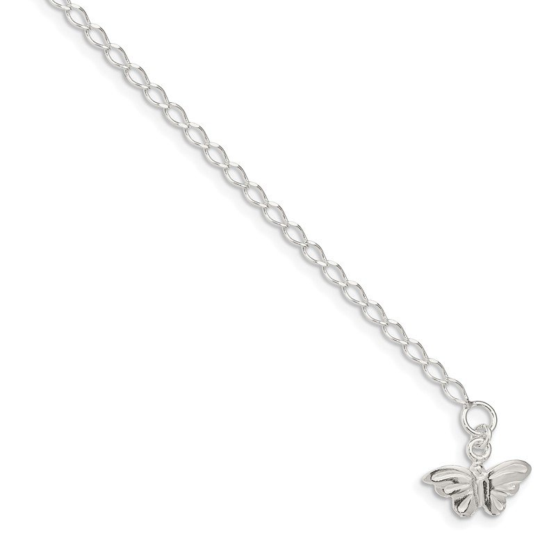 Quality Gold Sterling Silver 10inch Solid Polished Butterfly Anklet