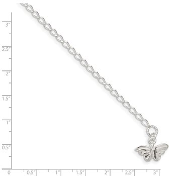 Sterling Silver 10inch Solid Polished Butterfly Anklet