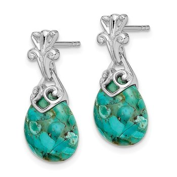 Sterling Silver Rhodium-plated w/Reconstituted Turquoise Dangle Earrings