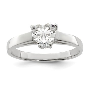 Sterling Silver Solitaire Heart CZ Ring
