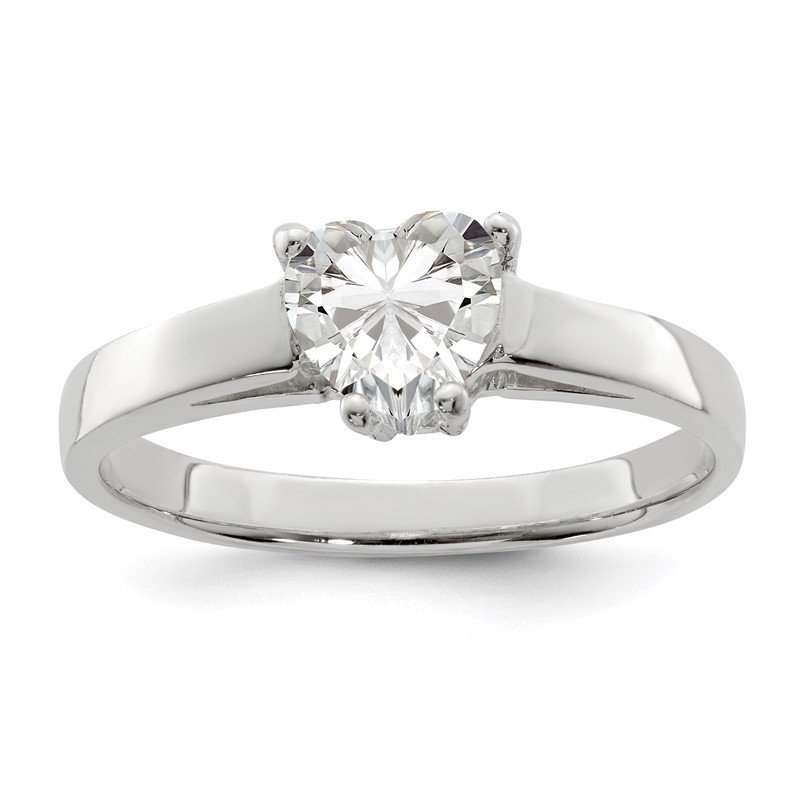 Quality Gold Sterling Silver Solitaire Heart CZ Ring