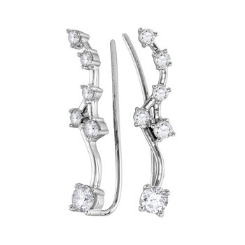 10kt White Gold Womens Round Diamond Climber Earrings 3/4 Cttw