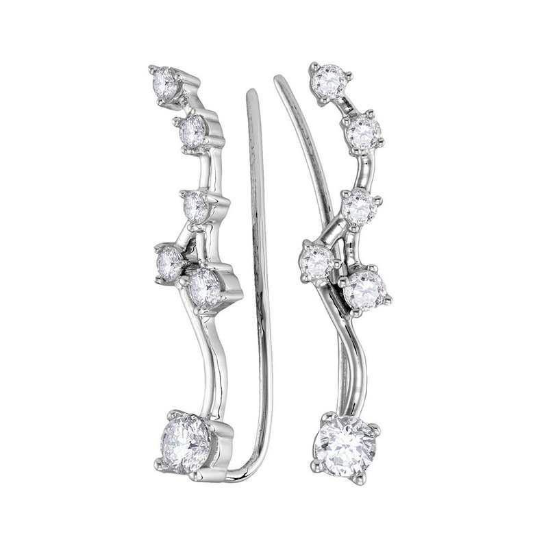 Gold-N-Diamonds, Inc. (Atlanta) 10kt White Gold Womens Round Diamond Climber Earrings 3/4 Cttw