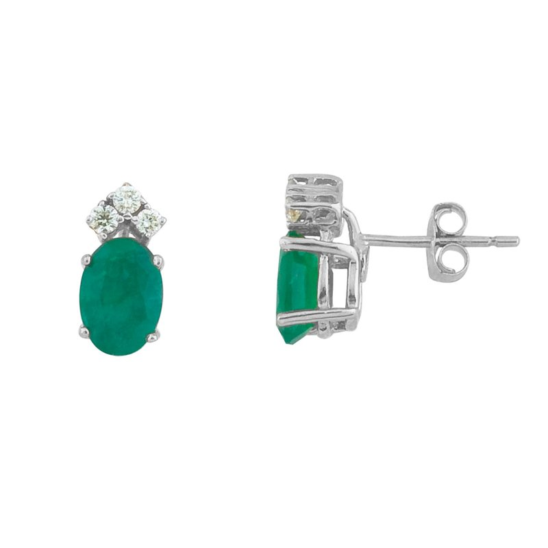 Color Merchants 14k White Gold Emerald And Diamond Oval Earrings