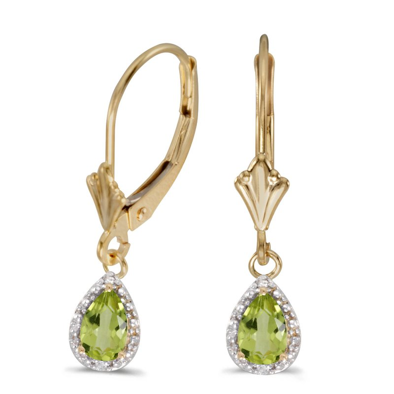 Color Merchants 14k Yellow Gold Pear Peridot And Diamond Leverback Earrings