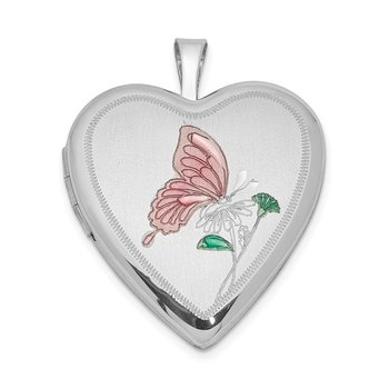 Sterling Silver Rhodium-plated 20mm Enameled Butterfly Heart Locket