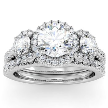 Pave Halo Three Stone Ring with Matching Band & Diamond Accents