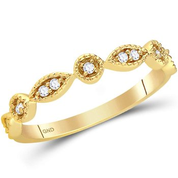 14kt Yellow Gold Womens Round Diamond Stackable Band Ring 1/10 Cttw