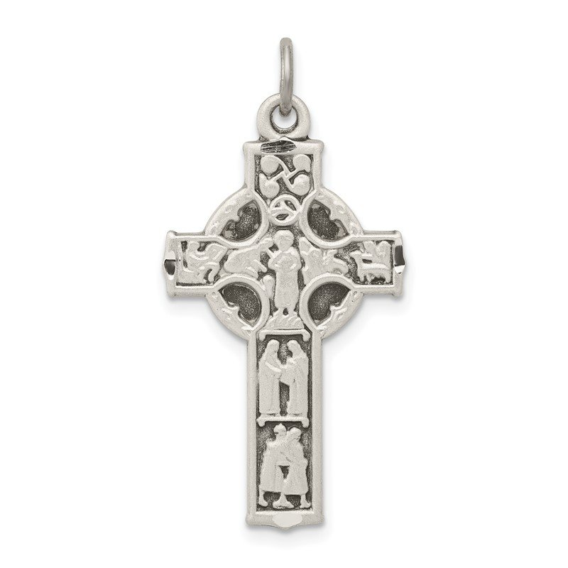 Quality Gold Sterling Silver Antiqued Celtic Cross w/Biblical Figures