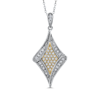 10K White & Yellow Gold 1/4 Ct Diamond Fashion Pendant with Chain