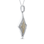 Essentials 10K White & Yellow Gold 1/4 Ct Diamond Fashion Pendant with Chain