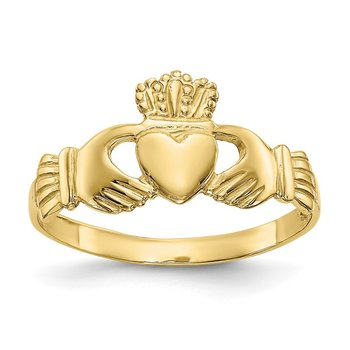10k Polished Ladies Claddagh Ring