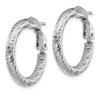 14k 3x15mm White Gold Diamond-cut Round Omega Back Hoop Earrings