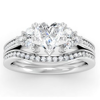 Channel & Prong Set Diamond Engagement Ring with Matching Band