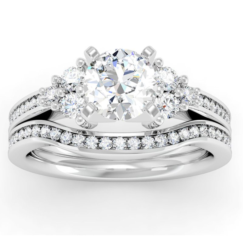 California Coast Designs Channel & Prong Set Diamond Engagement Ring with Matching Band