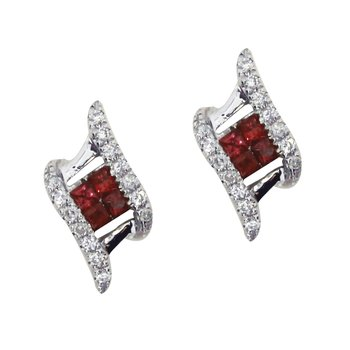 14k White Gold Ruby and Diamond Angled Earrings