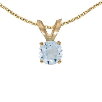 14k Yellow Gold Round Aquamarine Pendant