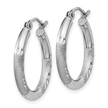 Sterling Silver Rhod-plated 2.5mm Polished/Satin Diamond-cut Hoop Earrings