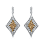 Essentials 10K White & Yellow Gold 1/4 Ct Brown and White Diamond Fashion Earrings