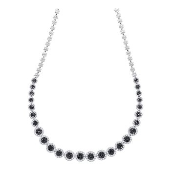 14kt White Gold Womens Round Black Color Enhanced Diamond Cluster Necklace 10-1/5 Cttw