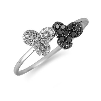 10K WG Black & White Dia Ring In Clover Leaf Design