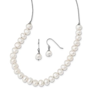 Sterling Silver RH 7-8mm White FWC Pearl Earring/Necklace Set