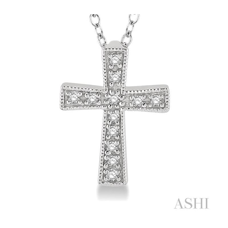 ASHI silver cross diamond pendant