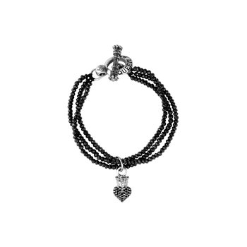3-Strand Black Spinel Bracelet W/ Black Baby Pave Cz Crowned Heart & Silver Clasp
