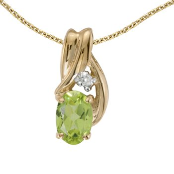 10k Yellow Gold Oval Peridot And Diamond Pendant