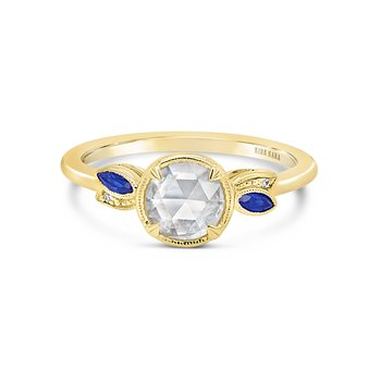 Rose Cut Diamond Sapphire Engagement Ring