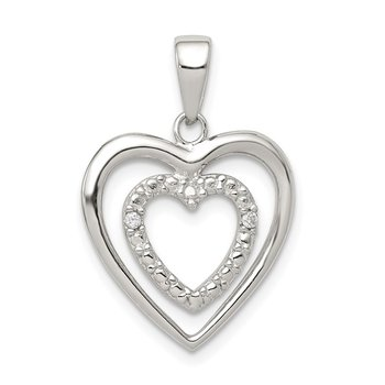 Sterling Silver Rhodium-plated CZ Double Heart Pendant