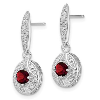 Sterling Silver Rhodium-plated Garnet/Diamond Post Dangle Earrings