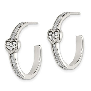 Sterling Silver Glitter Infused & CZ Heart Hoop Earrings