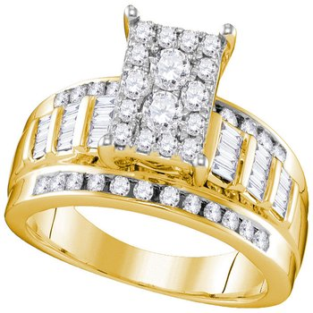 10kt Yellow Gold Womens Round Diamond Rectangle Cluster Bridal Wedding Engagement Ring 7/8 Cttw - Size 8
